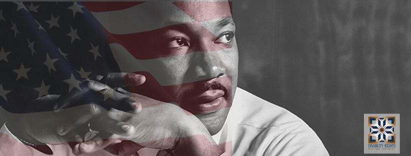american flag with a photo of martin luther king jr